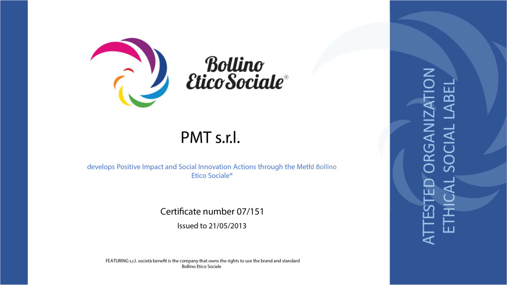 ATTESTATO Bollino Etico Sociale 07 PMT 21.05.13 - agg. lug19 -ENG